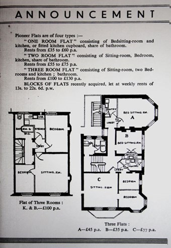 Ground plans of the different flats available, drawn up by architect, Gertrude Leverkus. © Women's Pioneer Housing. Source The Women's Library