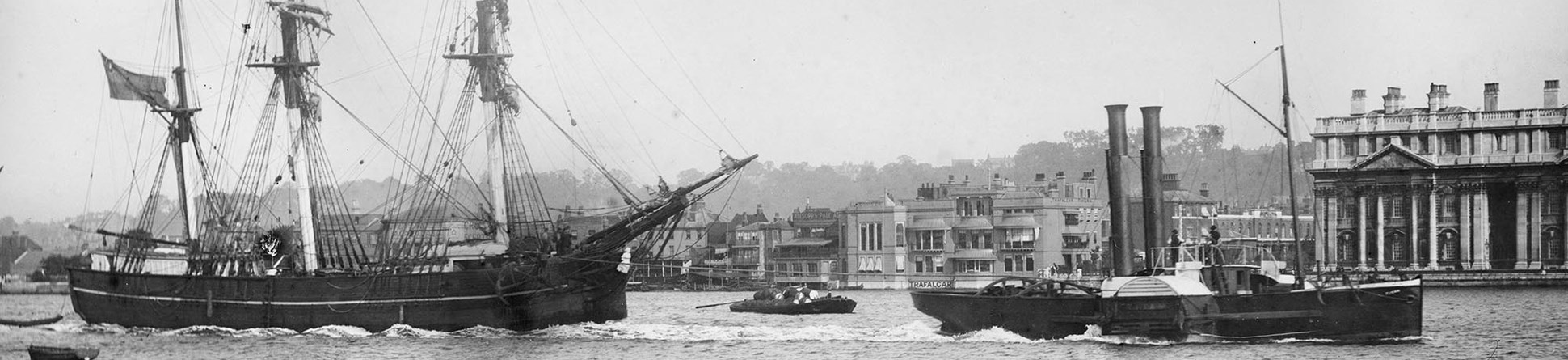 Sailing vessel and paddle steamer on the River Thames at Greenwich