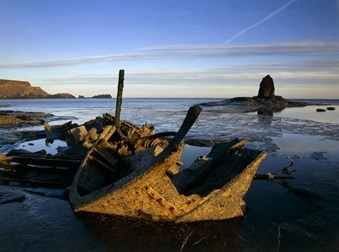 The wreck of the fishing vessel Admiral van Tromp, east of the Black Nab on the North Yorkshire coast, near Whitby