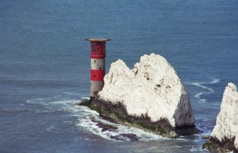 The Needles lighthouse seen from the south-east