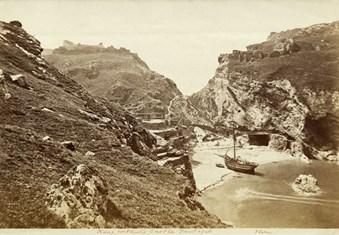 A 19th century view of a ship beached at Tintagel Haven