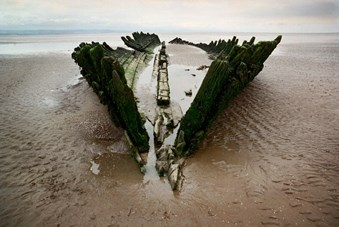 A view down the keel and ribs of the Norwegian barque Nornen, wrecked in 1897 on Berrow Beach, Somerset
