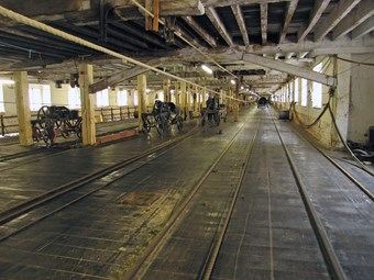 A view down the ropery laying floor at Chatham Dockyard