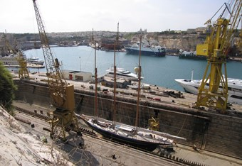 French Creek, Malta, with part of Hamilton Dock in the foreground