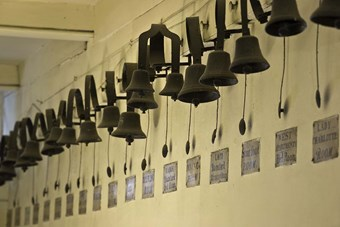 The 56 sprung bells in the basement service corridor