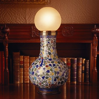 A cloisonné enamel vase converted to an electric lamp