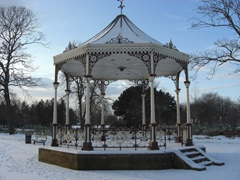 A re-creation of the Sun Foundry bandstand, Albert Park, Middlesborough in the snow