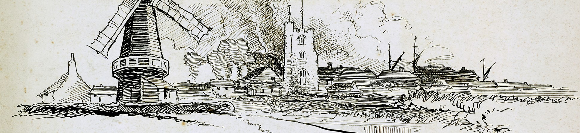 Line-drawn archive illustration showing a windmill, a river and a church tower