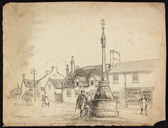 Line-drawn archive illustration showing a village cross with people in the street