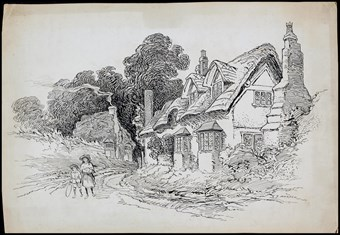 Line-drawn archive illustration showing two children walking along a country lane with cottages