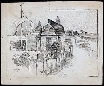 Line-drawn archive illustration showing a cottage made partly from an upturned boat