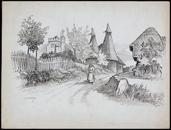 Line-drawn archive illustration showing a woman walking along a country lane