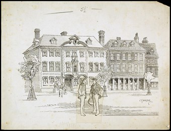 Line-drawn archive illustration showing two men talking in a town square