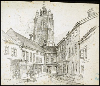 Line-drawn archive illustration showing an urban street leading towards a carriage arch, with a tower beyond.