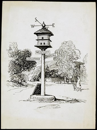 Line-drawn archive illustration showing a woman and child looking up at a post marked Westcott just below a small thatched dovecote surmounted by a weathervane. Road signs attached to the side of the post point towards Guildford and Dorking.