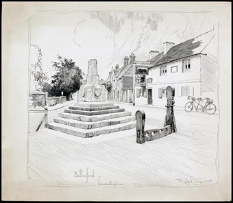 Line-drawn archive illustration showing a market cross, with stocks and a whipping post. A tandem bicycle leaning against a wall.
