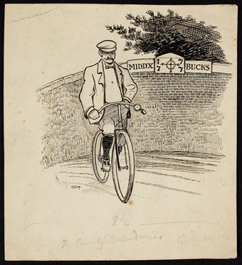 Line-drawn archive illustration showing a man on a bicycle in front of a sign marking the county boundary between Middlesex and Buckinghamshire