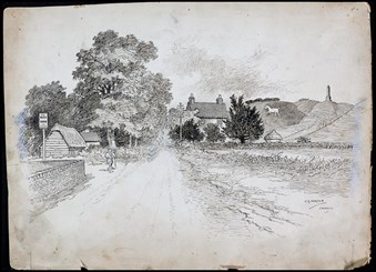 Line-drawn archive illustration showing a lane leading into a rural village, with a carved white horse and an obelisk on the hills beyond.