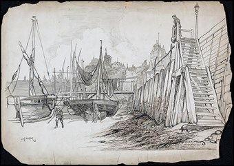 Line-drawn archive illustration showing fishing boats in a harbour