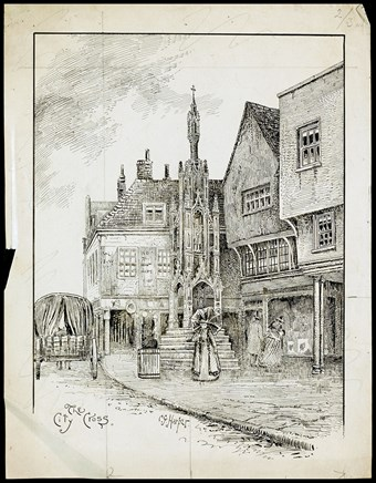 Line-drawn archive illustration showing a woman holding a parasol standing by the steps of a market cross