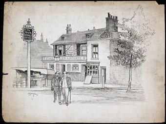 Line-drawn archive illustration showing two men standing in front of a public house.