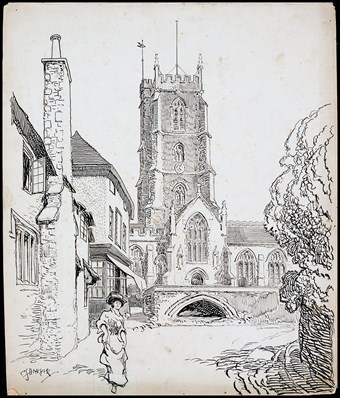 Line-drawn archive illustration showing houses and a church with a churchyard wall, and a woman in the foreground.