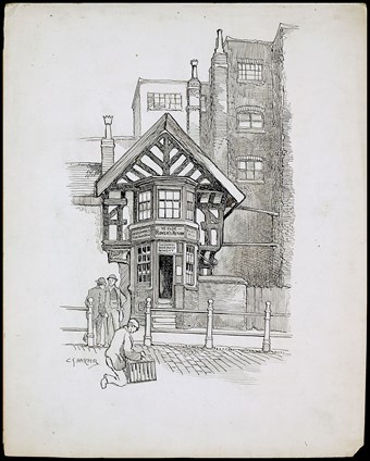 Line-drawn archive illustration showing a small timber-framed public house surrounded by larger buildings with people in the foreground.