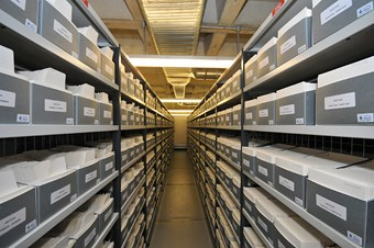 Photograph of the interior of a building with steel racking holding ranks of grey archive boxes.