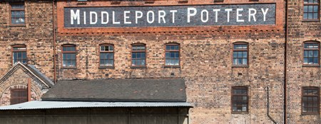 View across the Mersey canal to Middleport Pottery, Burslem, Stoke-on-Trent.