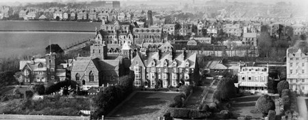 An aerial view of Ramsgate from the south-east, taken in 1920, which shows Pugin's house and the neighbouring church in the foreground, and the town in the background.