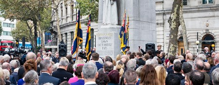 Photo of a crowd of people at Edith Cavell Memorial by Sir George Frampton