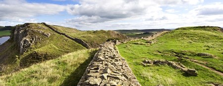 Panoramic view of Hadrian's Wall and surrounding landscape