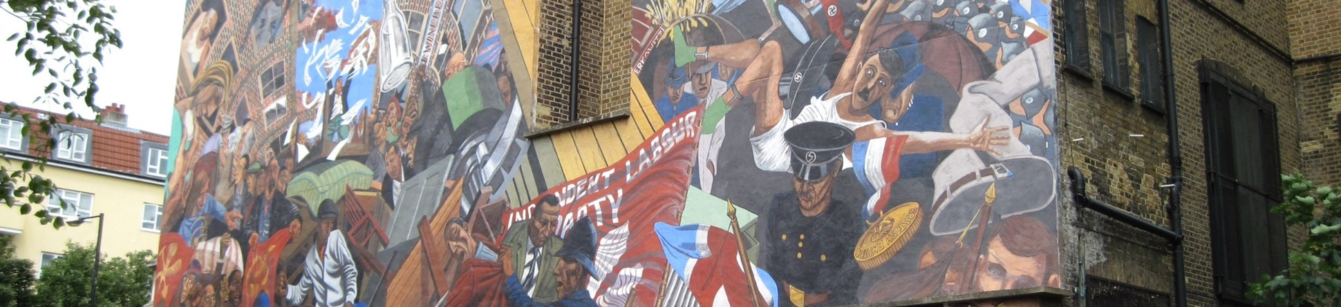 Image of the Cable Street Mural, East London. It commemorates the Battle of Cable Street which took place on Sunday 4 October 1936.