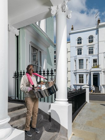 Sterling Betancourt, Musician, photographed at Powis Square Notting Hill.
