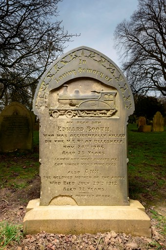 The gravestone of Edward Booth, a 25 year old railway fireman killed in a train crash in 1906, has been listed at Grade II