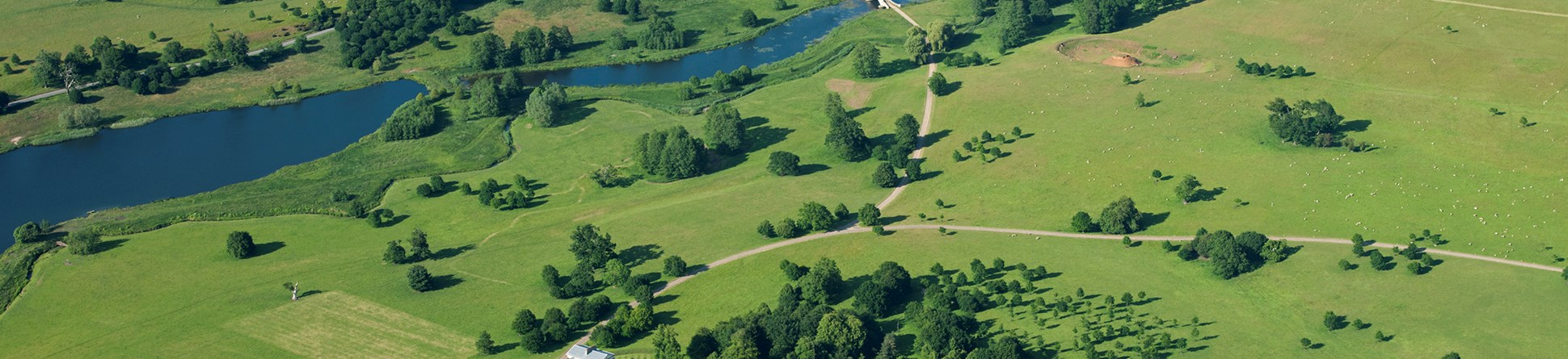 Heveningham Hall, Suffolk from the air. A Capability Brown landscape listed at Grade II* © Historic England
