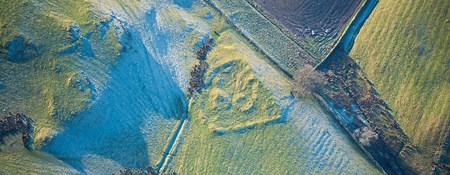 Aerial view of Iron Age Roman settlement at Gillsmere, Cumbria