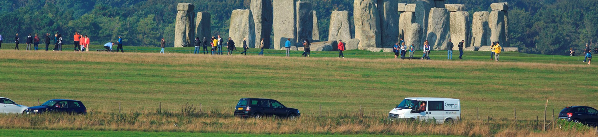 Stonehenge Landscape with traffic in the foreground