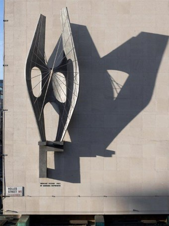 Winged Figure by Barbara Hepworth, Oxford Street, London, 1963. Listed Grade II* © Historic England