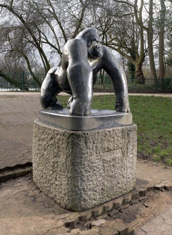 Gorilla by David Wynne, 1962. Crystal Palace Park (originally in the Children's Zoo), London. Listed Grade II © Historic England