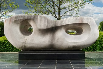 Rosewall (Curved Reclining Form) by Barbara Hepworth, Chesterfield, Derbyshire, 1960-2. Listed Grade II © Historic England