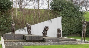 Prisoner of War Memorial by Fred Kormis, 1967-69. Gladstone Park, Dollis Hill, London. Listed Grade II © Historic England