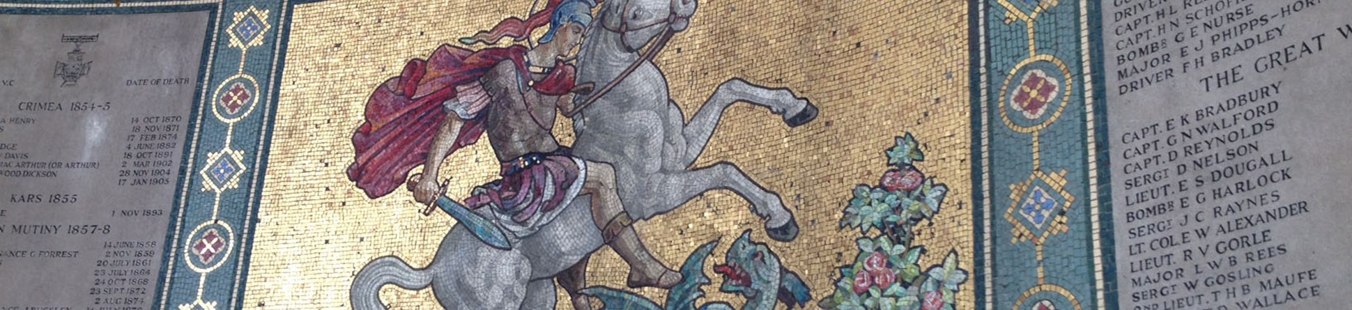 Mosaic of St George on a white horse slaying a dragon