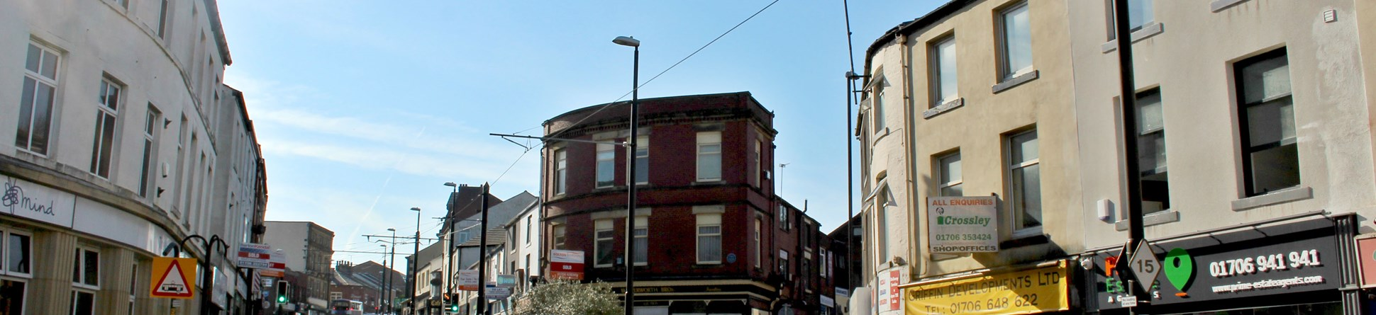 General view looking up Drake Street, Rochdale on a sunny day in 2018