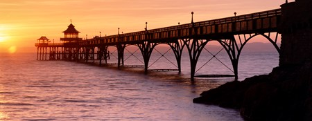 Clevedon Pier in a golden sunset