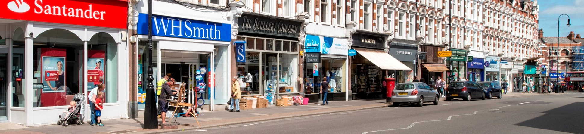 A parade of shops in Muswell Hill, London