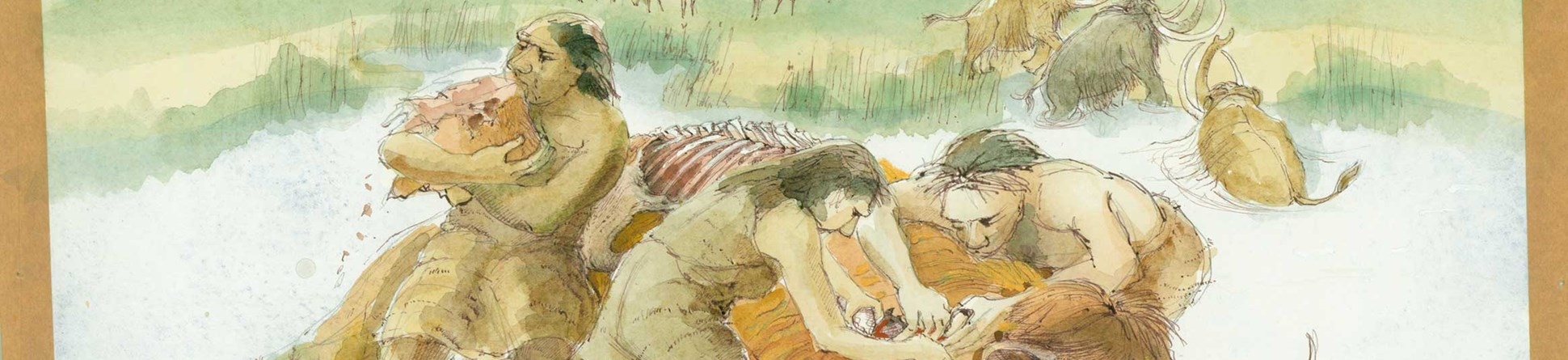 A reconstruction drawing of a group of Neanderthals butchering a mammoth