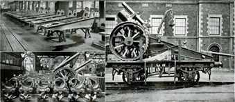 Great Western Railway Works, Swindon, Wiltshire. Many railway engineering works were turned to war production. One of the many products manufactured at Swindon were carriages for 8-inch Howitzer guns. (Swindon Railway Museum)