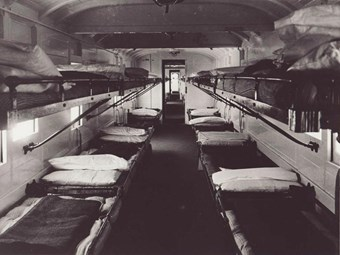 Ambulance train. During the war, standard railway carriages were converted into ambulance cars. As shown here in a carriage interior, even the luggage racks were converted into beds. (Swindon Railway Museum BB94/5297)