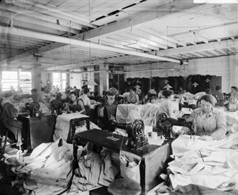 Maple and Co's works. In Victorian and Edwardian Britain Maple and Co were amongst the most prestigious cabinet-makers and furniture retailers, with large premises on Tottenham Court Road. In this unidentified factory, workers are shown making tents.